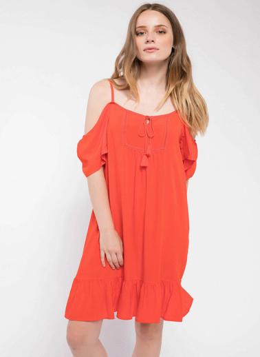 DeFacto İp Askılı Eteği Volanlı Midi Elbise Kırmızı